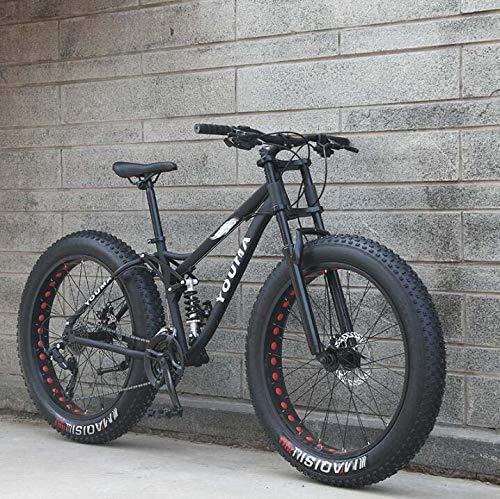 Mzq-yq Bicicletas de montaña, 26 Pulgadas Fat Tire Hardtail Bicicleta de montaña, Doble Bastidor de suspensión y la suspensión Tenedor Todo Terreno Bicicleta de montaña,Negro,24speed