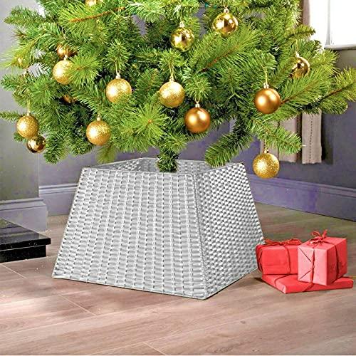 HUIJK Rattan Christmas Xmas Tree Skirt Wicker Stand Base Basket Cover Floor Decoration
