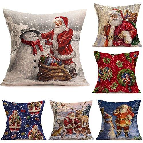 Proumy™ Fundas Cojines de Navidad, Patrón de Papá Noel Funda de Cojines 45x45,18'x18' (N)
