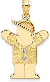 Lex & Lu 14k Yellow Gold AA Diamond Kid Pendant LALXK467AA