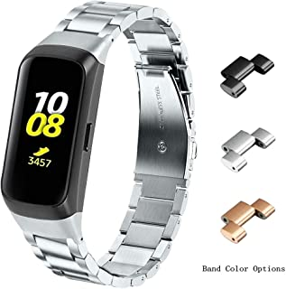 Valchinova Compatible with Samsung Galaxy Fit SM-R370 Band Replacement Stainless Steel Metal Wristband Strap Accessory for Men Women (Silver)