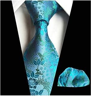 Mens Cravat Tie Set Luxury Floral Pattern Wedding Necktie with Pocket Square Set
