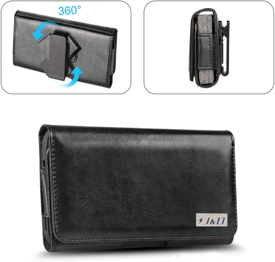 J&D Holster Compatible for Moto G6 Play Holster with Belt Clip, PU Leather Holster Pouch and ID Wallet Case for Motorola Moto G6 Play Case (Fits with Naked Phone or Slim Case on), Black