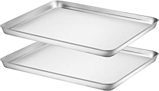 Baking Sheet Set of 2, HKJ Chef Stainless Steel Cookie Sheet Set 2 Pieces Toaster Oven Tray Pan Non Toxic ,Healthy Easy Clean