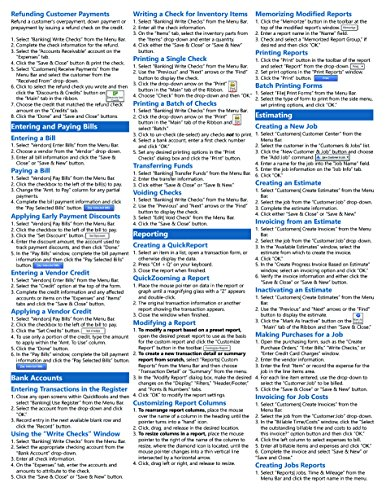 QuickBooks Pro 2014 Quick Reference Training Card - Laminated Guide Cheat Sheet (Instructions and Tips)