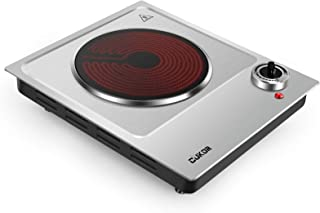 CUKOR Plaque de cuisson électrique portable - 1200 W - Infrarouge - Chauffe en quelques secondes - Verre céramique de 18 c...