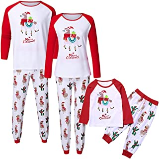 Christmas Matching Pjs for Family of 3, Wesracia Dad Mom Son Matching Pajamas Llama Cactus Cotton Sleepwear Winter (Mom, 8)