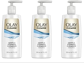 Olay Cleanse Gentle Foaming Face Cleanser for Sensitive Skin, Fragrance Free 6.7 fl oz (Pack of 3)