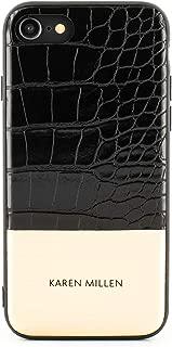 Karen Millen Fashion Premium Quality Brushed Metal Back Shell for iPhone 8/7 - Black Croc