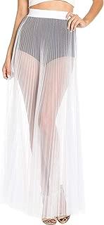 COCOLEGGINGS Women's Ruffle Sheer Mesh Swimwear Cover Up Pants