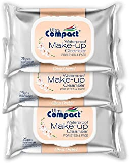 Ultra Compact Makeup Remover Wipes - No Harsh Chemicals Eye Makeup Remover - Dermatologically & Microbiologically Tested Face Wipes - Ghost Orchid Fragrance Makeup Wipes - 3 Packs of 25 Wipes