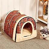 Chrasy Cosy Weiche Hundebett Hundehaus Hundehöhle Haustier Bett Warm Schlafsack Korb hundehütte mit Ablösbar Kissen Matte für Hunde, Katzen (M, Retro Brick Muster)