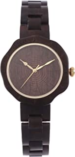Andoer Women's Wooden Watch Analog Quartz Watch Sandalwood Lightweight Casual Watches with Pedal Shape Dial Vintage Wristw...
