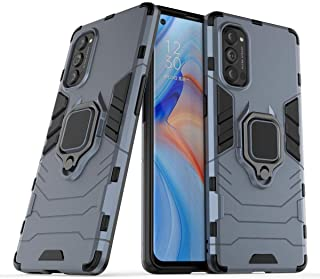 FanTing Case for Oppo Reno4 Pro 5G, Rugged and shockproof,with mobile phone holder, Cover for Oppo Reno4 Pro 5G-Dark Blue