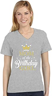 Mom of The Birthday Girl Outfit Mommy V-Neck Fitted Women T-Shirt
