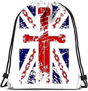 Drawstring Backpack British Flag Blue Red White Chain Sword Laundry Bag Gym Yoga Bag