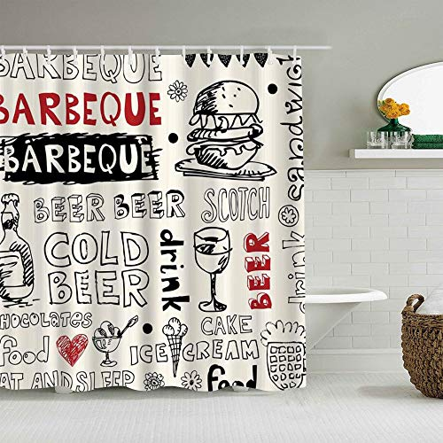 HYJDZKJY Polyester Fabric Shower Curtain,Doodles Barbecue Cold Beer Scotch Food Ice Cream Cake Sandwich Drink Burger,with 12 Plastic Hooks Decorative Bath Curtains 72x72 inches