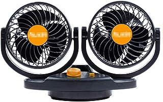 Car Fan 12V 24V Electric Cooling Fan with 360 ° Adjustable Dual Head Fan Powerful Silent Summer Cooling Fan for Truck Car,...