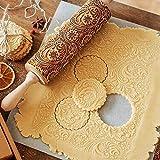 VZATT Motiv Nudelholz, Weihnachten Teigroller aus Holz, Holz Nudelhölzer zum Backen geprägte Kekse, 3D Holz Nudelholz, Teigroller mit Prägung, Graviertes Nudelholz