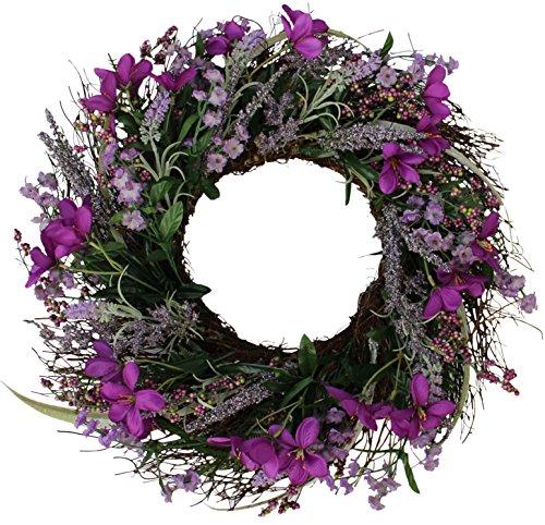 The Wreath Depot Lavender Blossom Silk Spring Door Wreath, 20 Inch