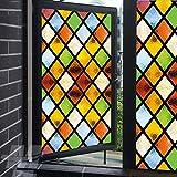 Fensterfolie, mattiert, Privatsphäre, gedeckte Farben, Buntglas-Fensterbehandlungen, statische Haftung, dekorative Fensterverkleidungen, UV-blockierende Fensteraufkleber, 70 x 160 cm
