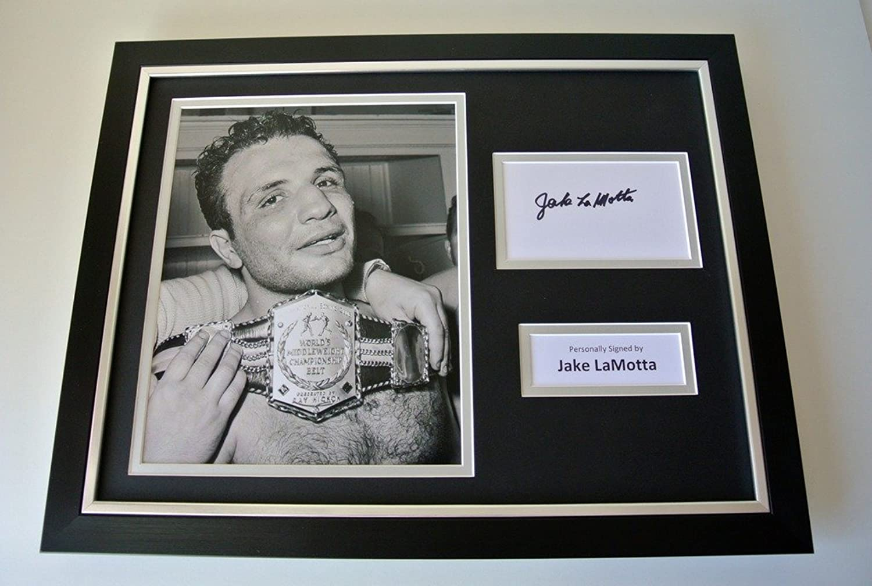 Sportagraphs Jake LaMotta SIGNED FRAMED Photo Autograph 16x12 display Boxing Memorabilia COA PERFECT GIFT