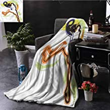 SSKJTC Basketball Pom Pom Throw Blanket Man Playing Basketball Couch Bed Napping Reading Recliner W80 xL60