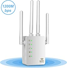 WiFi Extender 300Mbps Wireless Repeater Long Range Signal Booster Access Point/Repeater/Router Mode (2 Antennas, 2 Ethernet Port, One-Button Setup) Extend WiFi to Smart Home&Alexa Devices -2.4GHz