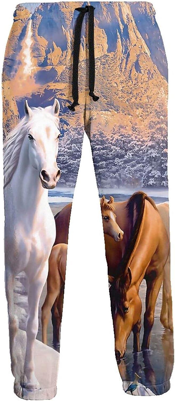 Men's Jogger Sweatpants Winter Horses Snow Mountain 3D Loose Joggers Pants with Drawstring Long Pants