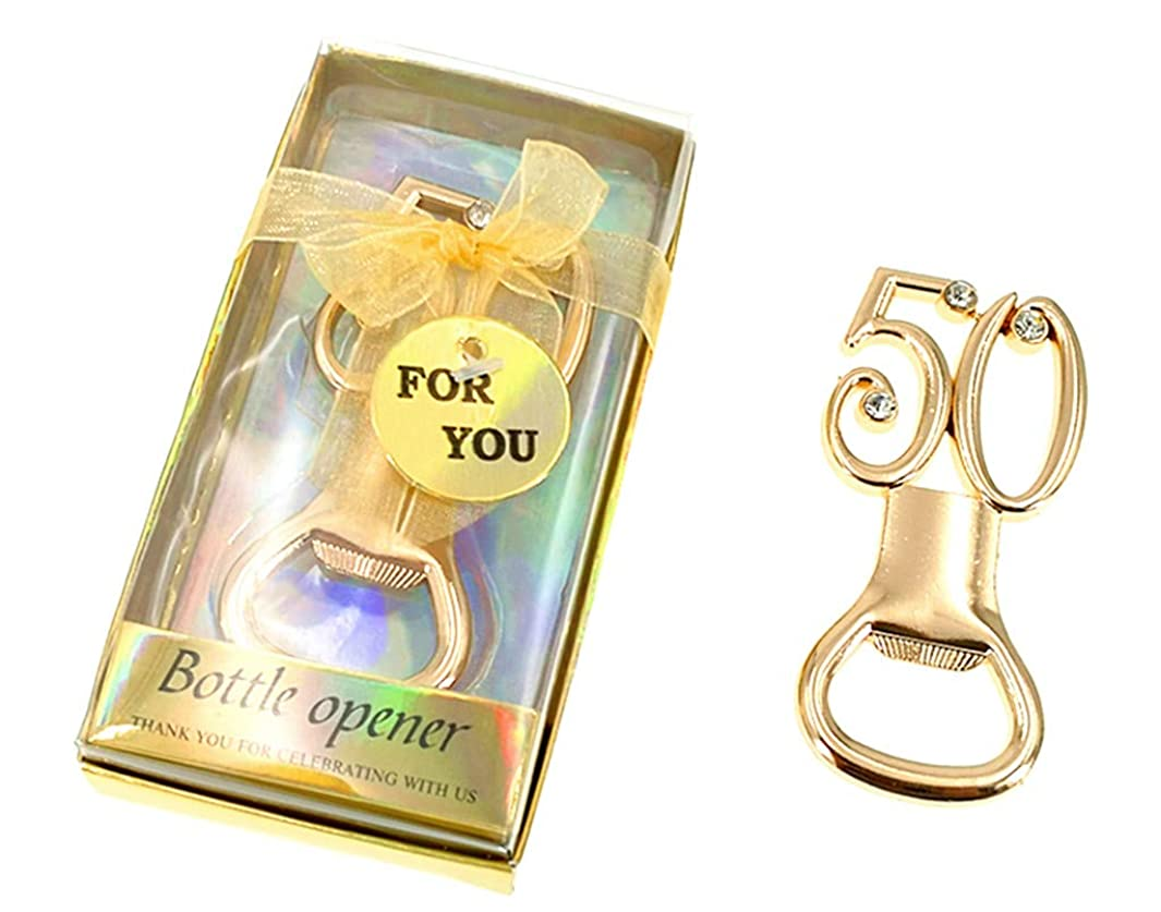 Kinteshun Bottle Opener with Gift Box Packing,the 50th Anniversary Wedding Birthday Party Favor Bottle Opener Souvenir Gift(12pcs,Rose Gold Tone)