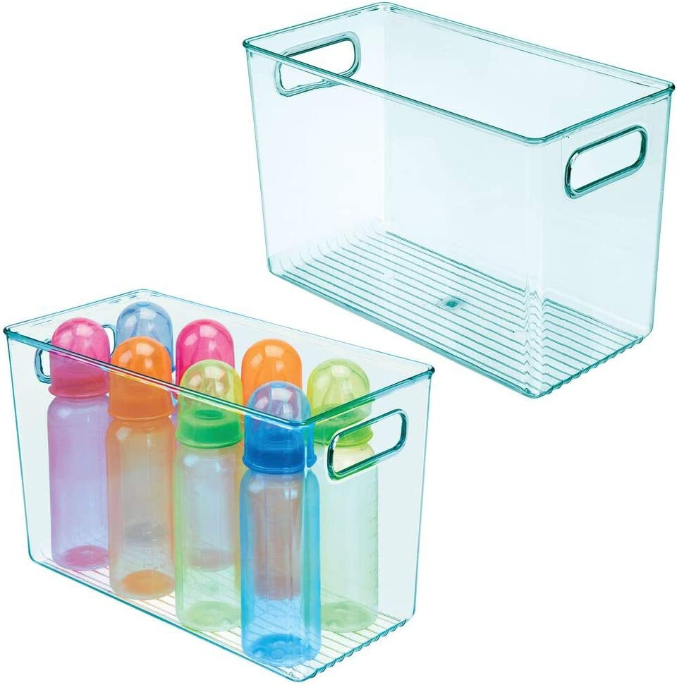 mDesign Plastic Storage Organizer Bin with Handles for Baby/Kid Supplies in Nursery, Bedroom, Playroom, Daycare, or Classroom - Holds Snacks, Bottles, Baby Food, Diapers, Wipes, Toys, 2 Pack, Sea Blue