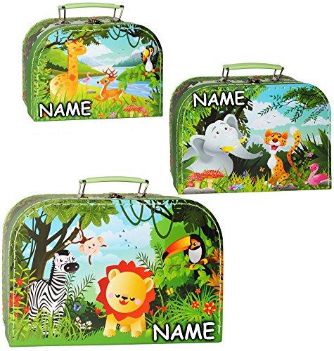 alles-meine.de GmbH 1 Stück _ Kinderkoffer / Koffer - KLEIN -  Tiere - Giraffe / Elefant / Löwe - Afrika  - incl. Name - ideal als Geldgeschenk und für...