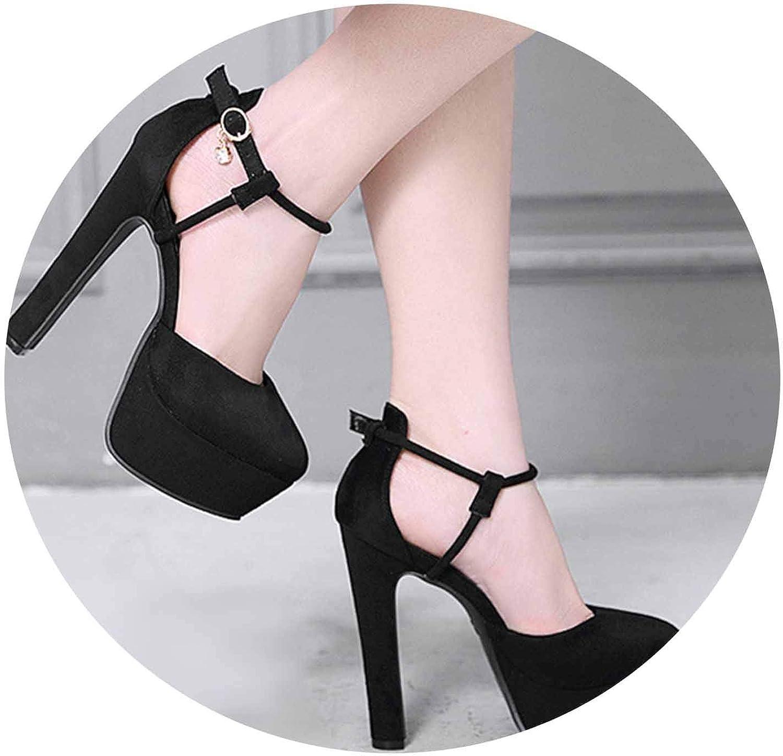 Woman 12CM Extreme High Heels Party Block Heel Black Crystal Strap Platform Valentin Talons