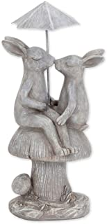 Bits and Pieces - Kissing Bunnies Under Umbrella Sculpture - Polyresin Home or Garden Decorative Rabbit Statue