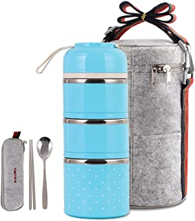Cute Lunch Box Insulated Lunch Bag Bento Box Food Container Storage Boxes with Cutlery for Adults Office Camping (3 Tiers(Blue)) …