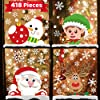 418枚 10枚 クリスマスデコレーション スノーフレーク ウィンドウステッカー ガラス用 クリスマス装飾 インドアクリスマスパーティーデカール サンタクロース 雪の結晶 雪だるま エルフ トナカイ ウィンドウステッカー ホリデーパーティー用
