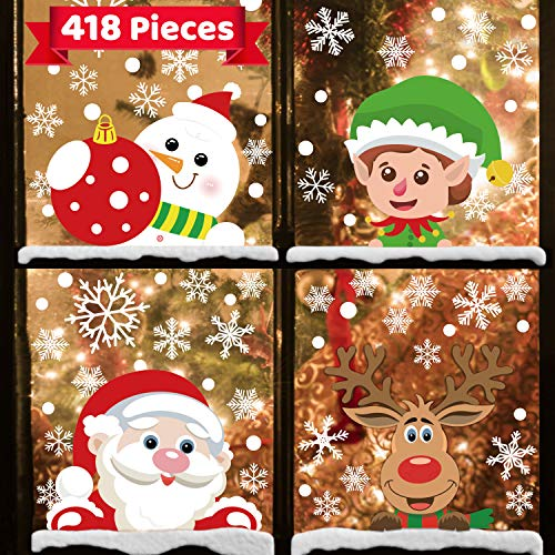 418 Pcs 10 Sheets Christmas Decorations Snowflake Window Clings Stickers for Glass,Christmas Décor Indoor Xmas Party Decals Santa Claus Snowflake Snowman Elf Reindeer Window Sticker for Holiday Party