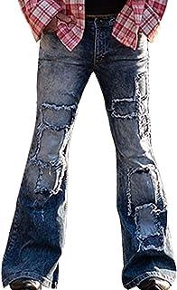 Men's Casual Flared Leg Denim Pants Vintage Patchwork Bell Bottom Jeans Pants