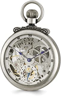 Sonia Jewels Charles Hubert Antique Chrome Finish Brass Skeleton Pocket Watch 14.5""