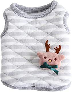Hdwk&Hped Warm Cotton Cat Shirt Little Dog Puppy Winter Clothes with Detachable Christmas Doll 5 Styles XXS XS