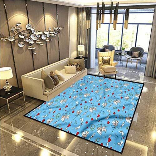 Angel Patio Rugs Kitchen Rugs Non Skid Romantic Love Mythology for Home Kids Bedroom Dormitory 6 x 7 Ft
