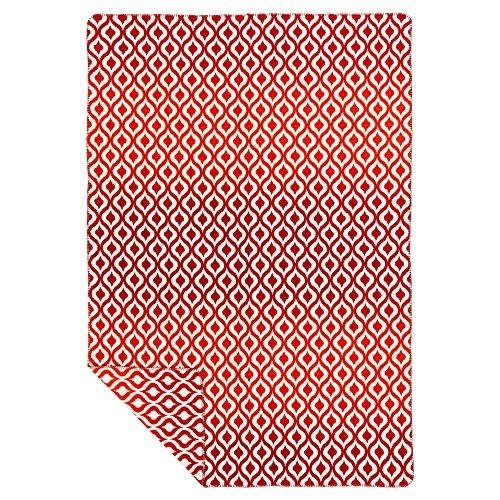 Richter Textilien Decke Orient 150 x 200 cm Bio-Baumwolle Rot