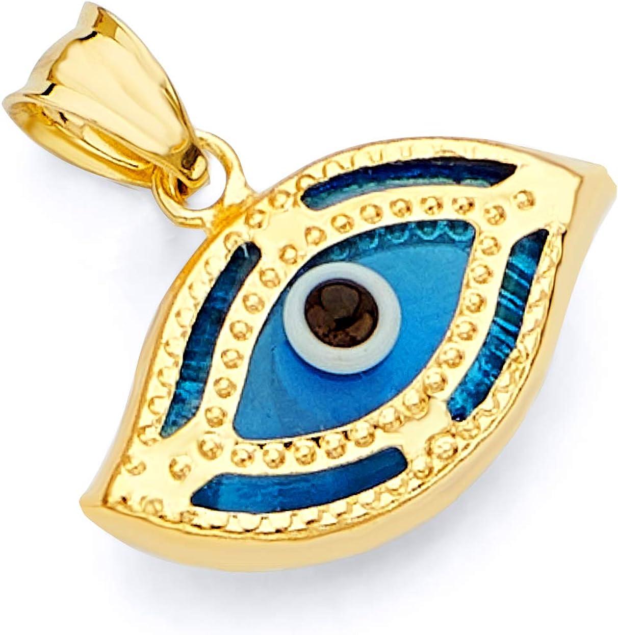 14k REAL Yellow Gold Evil Eye Hamsa Heart Charm Pendant - 5 Different Design Available