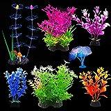 EQLEF Planta Artificial Acuario, de Coral Brillante y acuáticas Plantas de pecera Decoraciones Adornos de Acuario Paquete de 7