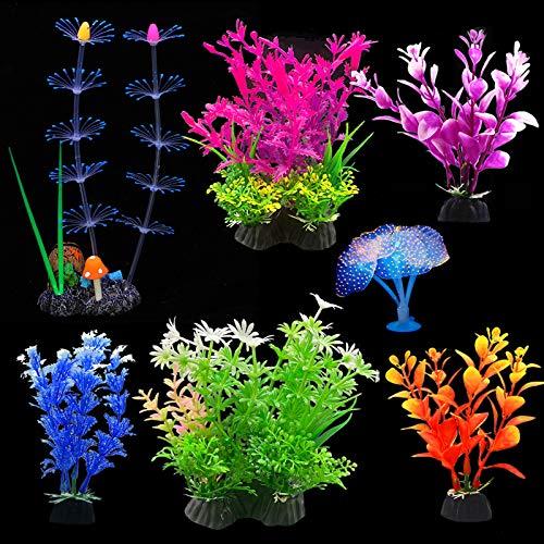EQLEF Aquarium Pflanzen Künstlich, leuchtende Korallen- und Wasserpflanzen Aquarium Pflanzen Dekorationen Aquarium Ornamente Packung mit 7 Stück