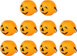 LUOEM 10pcs Halloween Portable Pumpkin Bucket Children Trick or Treat Pumpkin Candy Pail Holder Halloween April Fool 's Da...