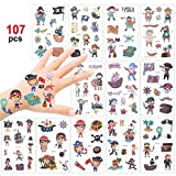 Konsait Tattoo Kinder, 100 Piraten Temporäre Tattoo Set, Kindertattoos Jungs Tattoo Aufkleber for...