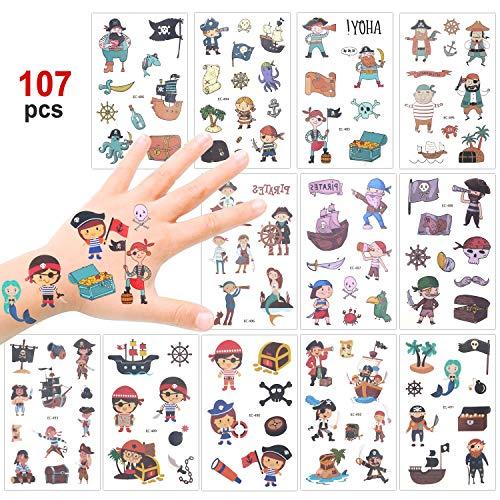 Konsait Tattoo Kinder, 100 Piraten Temporäre Tattoo Set, Kindertattoos Jungs Tattoo Aufkleber for Kinder Party Mitgebsel Kindergeburtstag Geschenktüten Kinder Spielen Piraten Party Zubehör