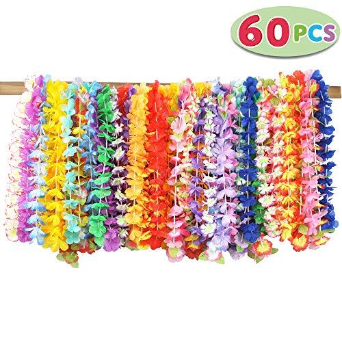 JOYIN 60pcs Collares Hawaianos FiestaVenda del Partido Hula Hawaiian Lei Flor Guirnalda para Luau Summer Playa