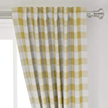 Roostery Curtain Panel, Plaid Rustic Gold Check Buffalo Mustard Yellow Gingham Print, Organic Cotton Sateen, Back Tab/Rod Pocket Curtain Panel, 8in x 8in Sample
